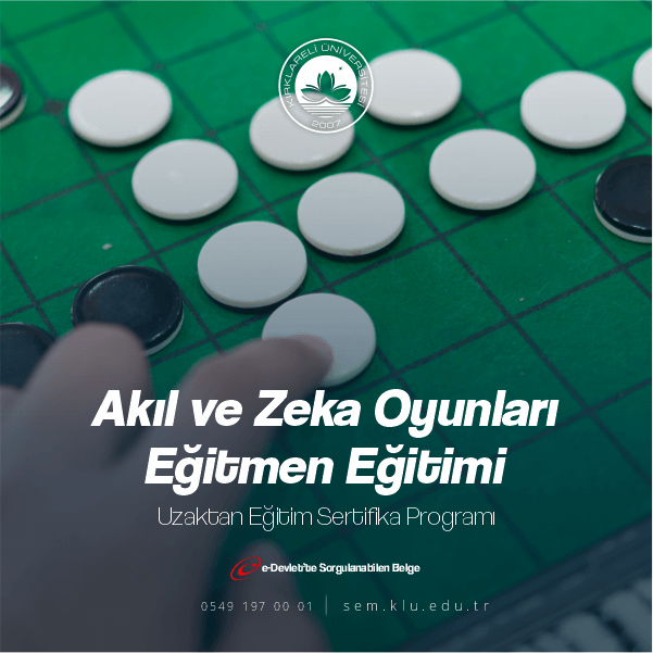 Akıl ve Zeka OyunlarıUygulayıcı Sertifikası ile ek ders alabilir,sınıf açabilirsiniz.Belgelerimiz kamu ve özel sektörde geçerli olmakla birlikte ömür boyu geçerliliği bulunmaktadır.